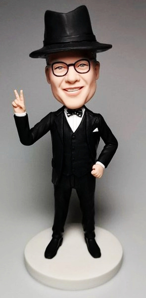 Custom Create Businessman Bobbleheads With Peace Sign