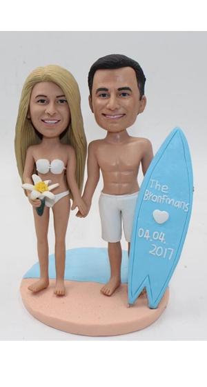 Custom Custom beach theme topper with surfboard