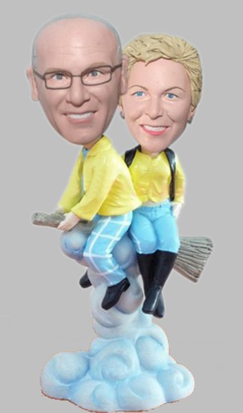 Custom Couple on the broomstick bobblehead gift for 50th anniversary