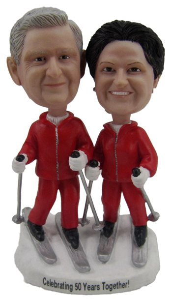 Custom Skiing couple bobbleheads