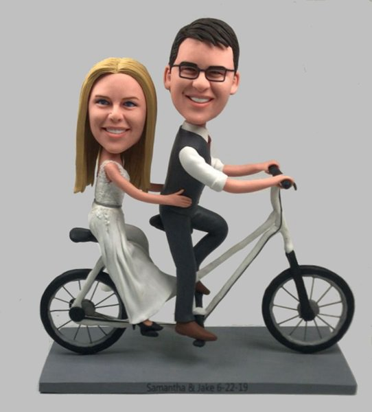 Custom Custom wedding bobbleheads with tandem bicycle