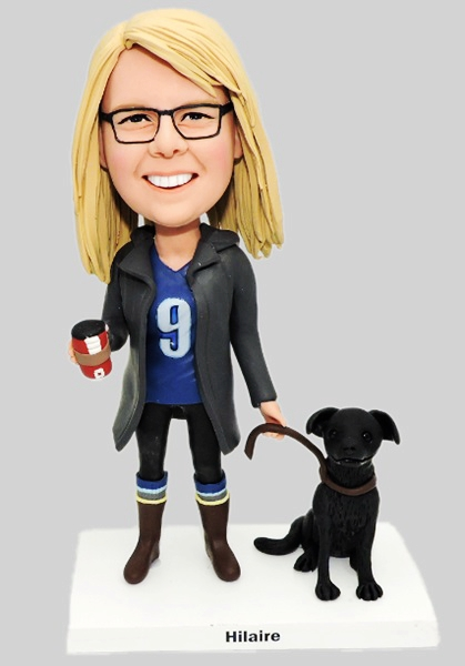 Custom Custom Female Bobblehead Walking With Her Dog