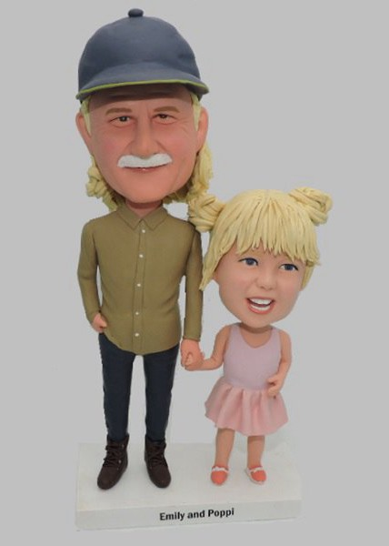 Custom Personalized Bobblehead For Girl and Her Grandfather