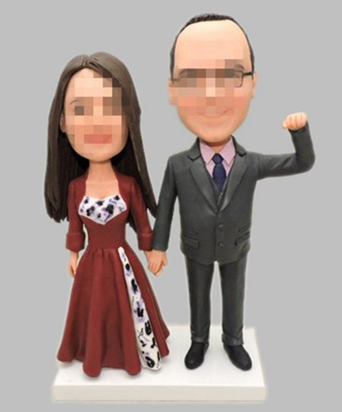 Custom Custom wedding cake topper with Groom doing fist pump