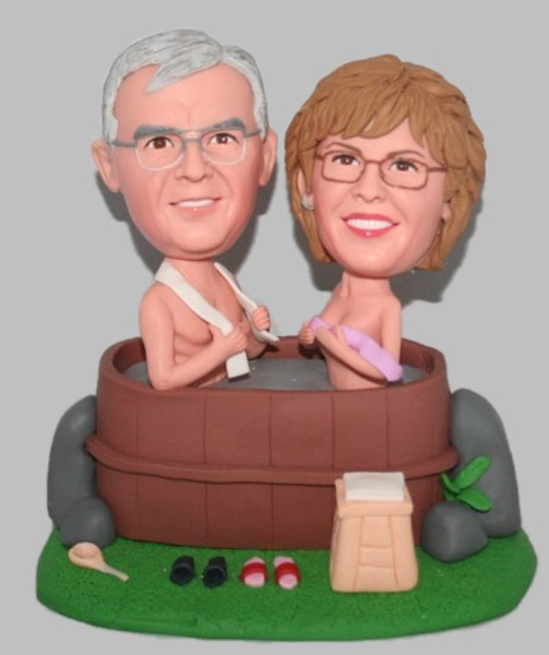Custom Bathing Couple Bobbleheads gift for 50th wedding Anniversary