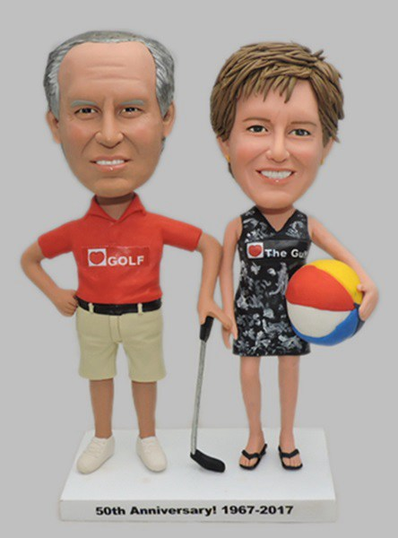Custom Beach theme bobbleheads for parents anniversary gift