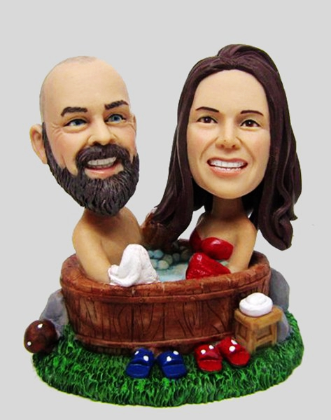 Custom Custom Wedding bobbleheads in bath