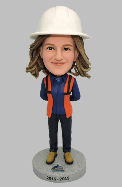 Custom Custom Bobblehead Female Construction Worker