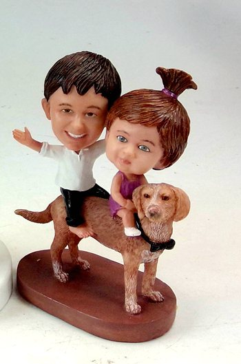 Custom Kids bobbleheads sister and brother sitting on dog