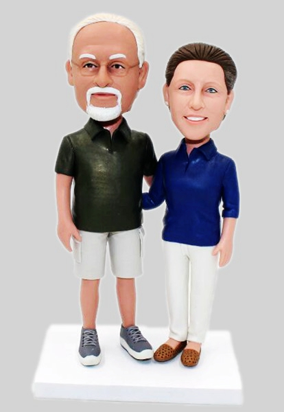 Custom Anniversary Gift Bobbleheads For Parents