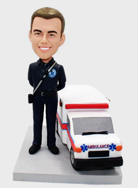 Custom Custom Medical Service Bobblehead With Ambulance