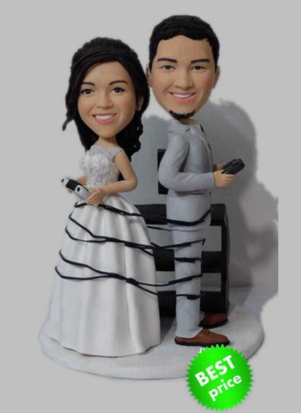 Custom Wrapped Up In Games Wedding bobbleheads