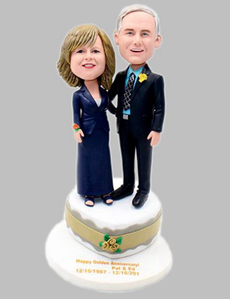 Custom Design anniversary bobbleheads gift-50th Golden wedding