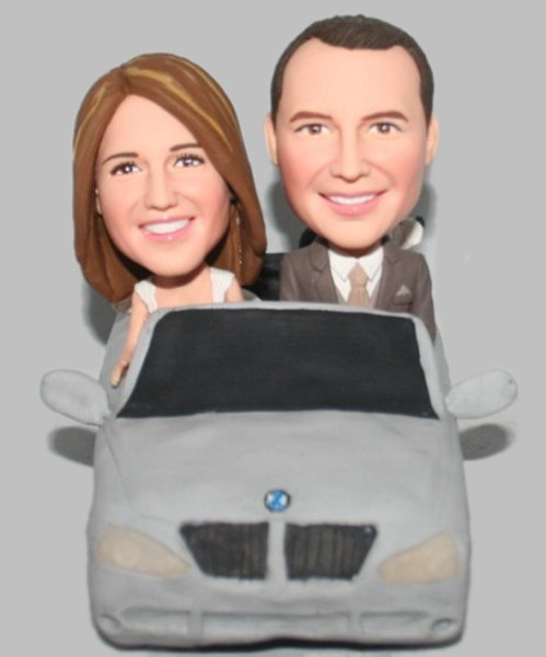 Custom Custom cake topper Bobbleheads Couple in Car