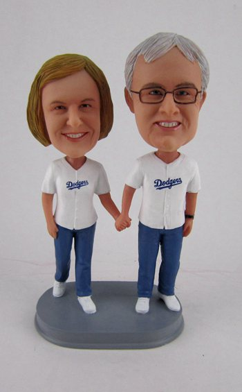 Custom Dodgers baseball bobbleheads for parents