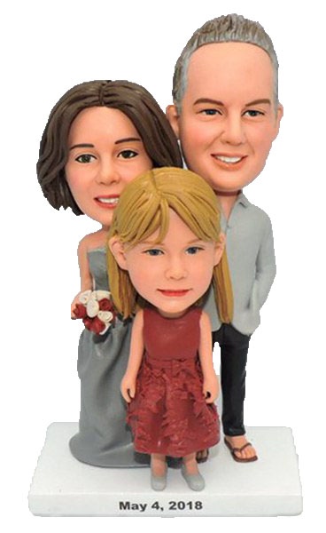 Custom Couple with kid bobbleheads