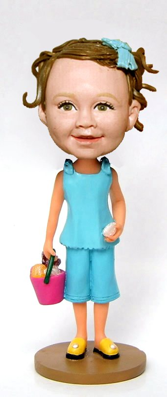 Custom Beach Little Girl with bucket bobblehead