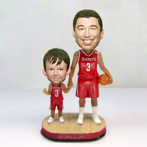 Custom Basketball Fans father and son bobbleheads
