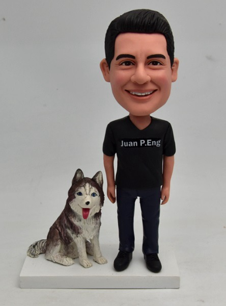 Custom Custom Male Bobblehead With Pet