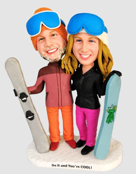 Custom Custom Snowboard Couple Bobbleheads
