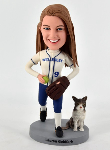 Custom Custom Bobblehead Softball With Pet