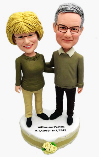 Custom Custom Anniversary Bobbleheads Gift For Parents