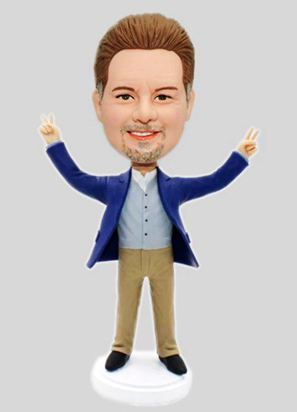 Custom Custom Businessman Bobblehead With Peace Sign
