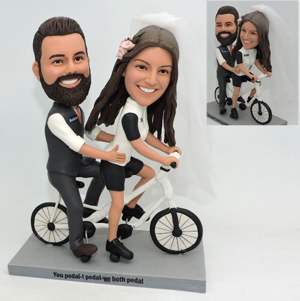 Custom Personalized Bobblehead Wedding With Tandem Bicycle
