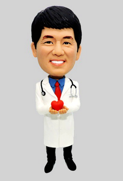 Custom Create Doctor Bobbleheads Holding A Heart