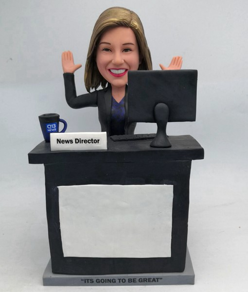 Custom Custom Office Lady bobbleheads Sitting At Office Desk