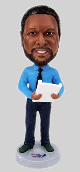 Custom Custom business man bobbleheas- holding book