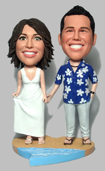 Custom Hawaii Custom 40th wedding Anniversary Bobbleheads