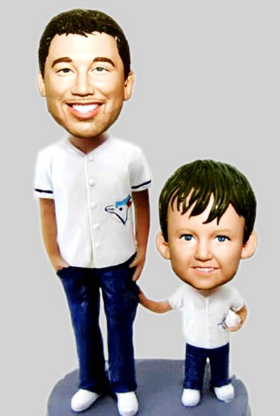 Custom Custom Baseball bobbleheads Dad and Son
