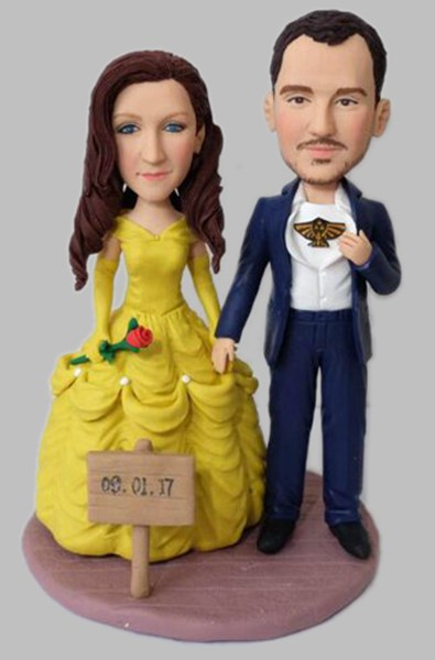 Custom Wedding bobbleheads with Belle in beauty and the beast