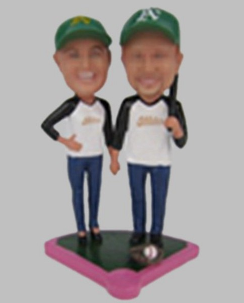 Custom Custom baseball player bobblehead wedding cake toppers