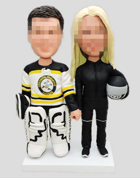 Custom Custom wedding topper hockey player groom and motocycle bride