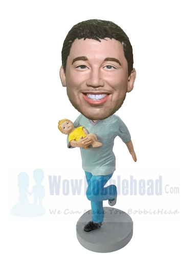 Custom Custom Super Dad bobbleheads with baby