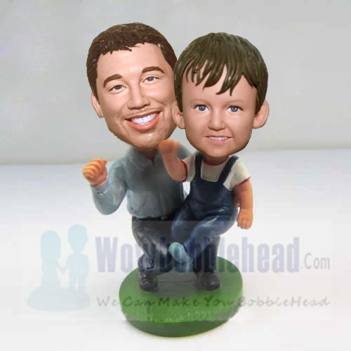 Custom Father and Son cheered bobbleheads