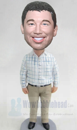 Custom Custom bobbleheads with Plaid Shirt