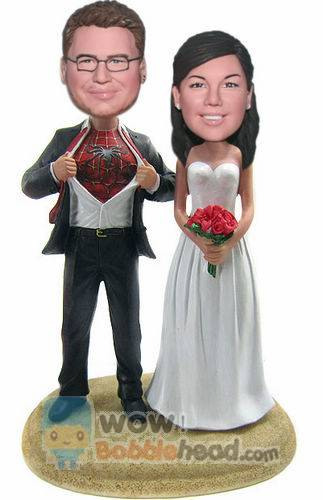 Custom Custom cake toppers Spiderman groom