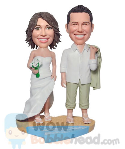 Custom Beach wedding custom bobbleheads