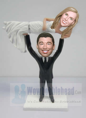 Custom Custom wedding cake toppers Groom lifting bride