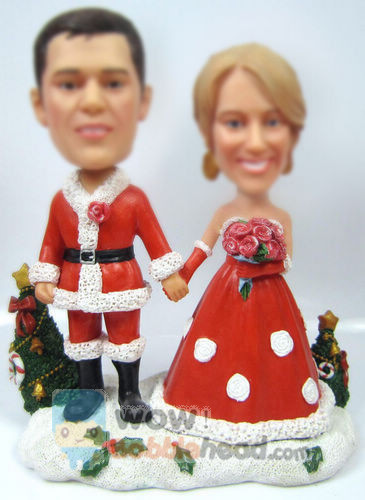 Custom couple Christmas bobblehead
