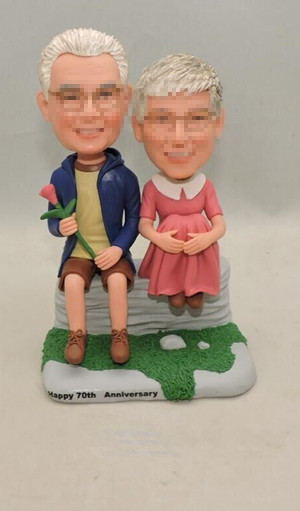 Custom Couple bobbleheads gift for 70th anniversary